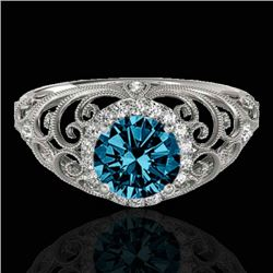 1.22 CTW SI Certified Fancy Blue Diamond Solitaire Halo Ring 10K White Gold - REF-170K9R - 33783