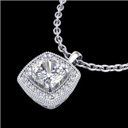 1.25 CTW Cushion VS/SI Diamond Solitaire Art Deco Necklace 18K White Gold - REF-315Y2N - 37037
