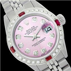 Rolex Ladies Stainless Steel, Diam Dial & Diam/Ruby Bezel, Saph Crystal - REF-355N6F