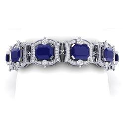 43.87 CTW Royalty Sapphire & VS Diamond Bracelet 18K White Gold - REF-763K6R - 38781