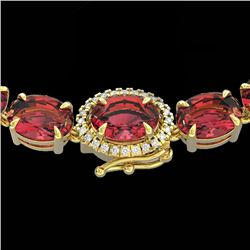 35.25 CTW Pink Tourmaline & VS/SI Diamond Micro Halo Necklace 14K Yellow Gold - REF-418H2W - 40280