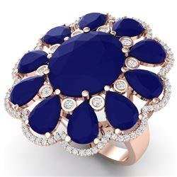 20.63 CTW Royalty Sapphire & VS Diamond Ring 18K Rose Gold - REF-309F3M - 39145