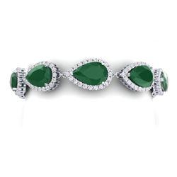 42 CTW Royalty Emerald & VS Diamond Bracelet 18K White Gold - REF-636R4K - 38856