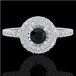 0.80 CTW Micro VS/SI Diamond Designer Ring 18K White Gold - REF-59R5K - 20893
