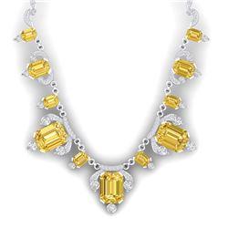 71.48 CTW Royalty Canary Citrine & VS Diamond Necklace 18K White Gold - REF-963K6R - 38757