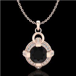 1.57 CTW Fancy Black Diamond Solitaire Micro Pave Stud Necklace 18K Rose Gold - REF-106M4F - 37633