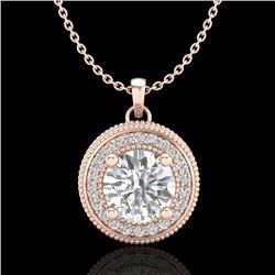 1.25 CTW VS/SI Diamond Solitaire Art Deco Stud Necklace 18K Rose Gold - REF-218W2H - 37143