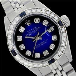 Rolex Men's Stainless Steel, QuickSet, Diam Dial & Diam/Sapphire Bezel - REF-441A8N