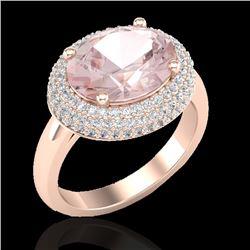 4.50 CTW Morganite & Micro Pave VS/SI Diamond Certified Ring 14K Rose Gold - REF-155M3F - 20918