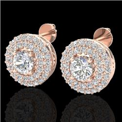 1.20 CTW Micro Pave VS/SI Diamond Earrings 14K Rose Gold - REF-104W5H - 20196