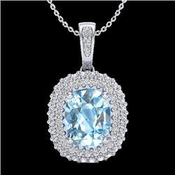 3 CTW Blue Topaz & Micro Pave VS/SI Diamond Certified Halo Necklace 10K White Gold - REF-65F5M - 204