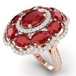 14.4 CTW Royalty Designer Ruby & VS Diamond Ring 18K Rose Gold - REF-263X6T - 39187