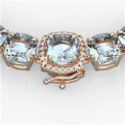 87 CTW Aquamarine & VS/SI Diamond Necklace 14K Rose Gold - REF-726F9M - 23337