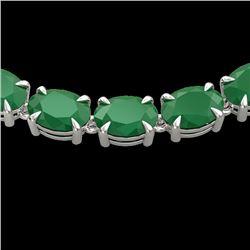 68 CTW Emerald Eternity Designer Inspired Tennis Necklace 14K White Gold - REF-234F9M - 23401