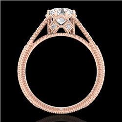 1.25 CTW VS/SI Diamond Solitaire Art Deco Ring 18K Rose Gold - REF-330X2T - 36906
