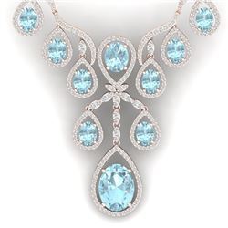 37.91 CTW Royalty Sky Topaz & VS Diamond Necklace 18K Rose Gold - REF-800M2F - 38566