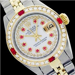 Rolex Ladies Two Tone 14K Gold/SS, Diam/Ruby Dial & Diam/Ruby Bezel, Saph Crystal - REF-374M2H