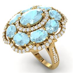 14.89 CTW Royalty Sky Topaz & VS Diamond Ring 18K Yellow Gold - REF-218K2R - 39197