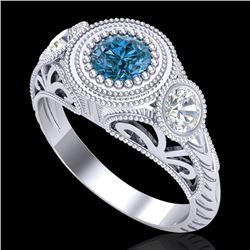 1.06 CTW Fancy Intense Blue Diamond Art Deco 3 Stone Ring 18K White Gold - REF-154M5F - 37495