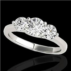 3 CTW H-SI/I Certified Diamond 3 Stone Solitaire Ring 10K White Gold - REF-452Y8N - 35394