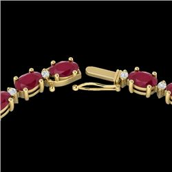35 CTW Ruby & VS/SI Diamond Certified Eternity Tennis Necklace 10K Yellow Gold - REF-200X8T - 21602
