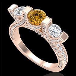 2.3 CTW Intense Fancy Yellow Diamond Micro Pave 3 Stone Ring 18K Rose Gold - REF-236N4Y - 37645