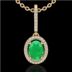 2 CTW Emerald & Micro Pave VS/SI Diamond Necklace Solitaire Halo 18K Yellow Gold - REF-70K9R - 20659