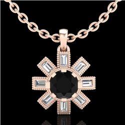 1.33 CTW Fancy Black Diamond Solitaire Art Deco Stud Necklace 18K Rose Gold - REF-100X2T - 37871