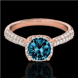 1.5 CTW SI Certified Fancy Blue Diamond Solitaire Halo Ring 10K Rose Gold - REF-177N6Y - 33264