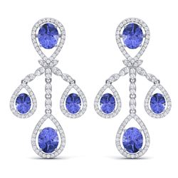 24.89 CTW Royalty Tanzanite & VS Diamond Earrings 18K White Gold - REF-563R6K - 38583