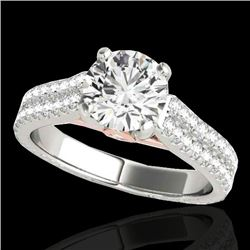 1.61 CTW H-SI/I Certified Diamond Pave Ring Two Tone 10K White & Rose Gold - REF-180M2F - 35458