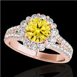 2.51 CTW Certified Si Fancy Intense Yellow Diamond Solitaire Halo Ring 10K Rose Gold - REF-337X3T -