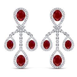 25.08 CTW Royalty Designer Ruby & VS Diamond Earrings 18K White Gold - REF-490Y9N - 38574