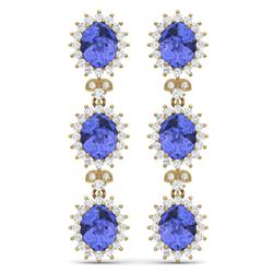 25.36 CTW Royalty Tanzanite & VS Diamond Earrings 18K Yellow Gold - REF-509T3X - 38648