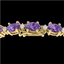 12 CTW Amethyst & VS/SI Diamond Certified Eternity Bracelet 10K Yellow Gold - REF-72W5H - 21438