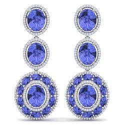 33.72 CTW Royalty Tanzanite & VS Diamond Earrings 18K White Gold - REF-581K8R - 39264