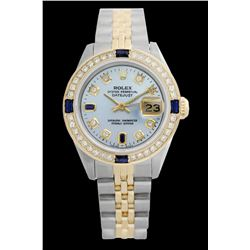 Rolex Ladies Two Tone 14K Gold/SS, Diam/Sapphire Dial & Diam Bezel, Saph Crystal - REF-368Y7X