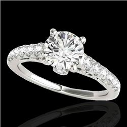 1.5 CTW H-SI/I Certified Diamond Solitaire Ring 10K White Gold - REF-172F8M - 34988