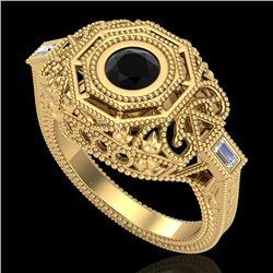 0.75 CTW Fancy Black Diamond Solitaire Engagement Art Deco Ring 18K Yellow Gold - REF-140N2Y - 37816