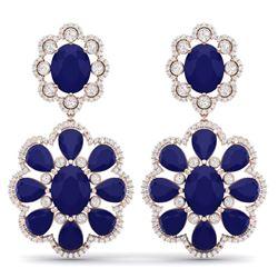 33.88 CTW Royalty Sapphire & VS Diamond Earrings 18K Rose Gold - REF-436Y4N - 39160