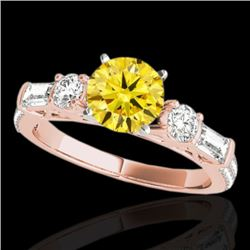2 CTW Certified Si Fancy Intense Yellow Diamond Pave Solitaire Ring 10K Rose Gold - REF-221N8Y - 354