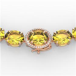 175 CTW Citrine & VS/SI Diamond Halo Micro Solitaire Necklace 14K Rose Gold - REF-535T5X - 22291