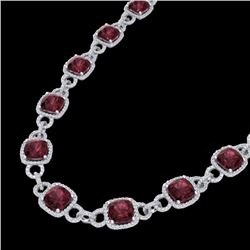 66 CTW Garnet & Micro VS/SI Diamond Certified Eternity Necklace 14K White Gold - REF-794N5Y - 23043