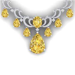 36.50 CTW Royalty Canary Citrine & VS Diamond Necklace 18K White Gold - REF-872T8X - 38667