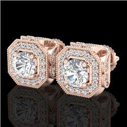 2.75 CTW VS/SI Diamond Solitaire Art Deco Stud Earrings 18K Rose Gold - REF-472M8F - 37323