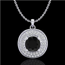 1.25 CTW Fancy Black Diamond Solitaire Art Deco Stud Necklace 18K White Gold - REF-83N6Y - 38136