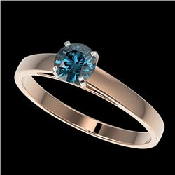 0.54 CTW Certified Intense Blue SI Diamond Solitaire Engagement Ring 10K Rose Gold - REF-60K8R - 364