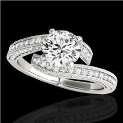 2 CTW H-SI/I Certified Diamond Bypass Solitaire Ring 10K White Gold - REF-227W3H - 35133