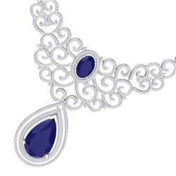 87.52 CTW Royalty Sapphire & VS Diamond Necklace 18K White Gold - REF-1727T3X - 39842