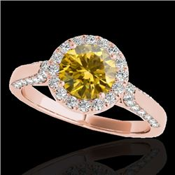 1.5 CTW Certified Si Fancy Intense Yellow Diamond Solitaire Halo Ring 10K Rose Gold - REF-176F9M - 3